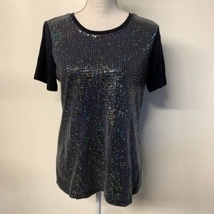 Christopher & Banks Blue Rainbow Sequin Front Top
